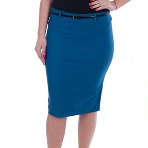 Women Pencil Skirt with Belt, d-3018, Teal